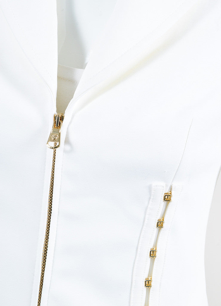 Versace White Cotton Gold Toned Hook and Eye Detail Zip Up Blazer Jacket Detail