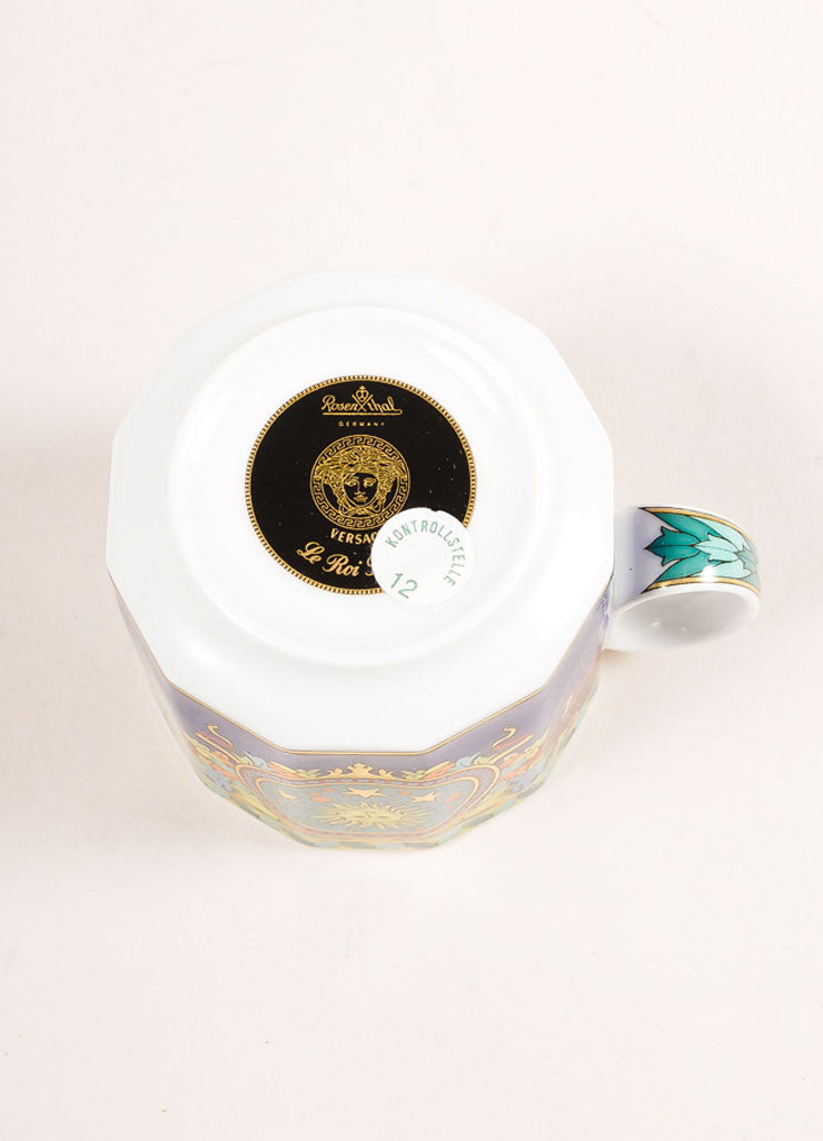 "Versace Rosenthal Multicolor ""Le Roi Soleil"" Espresso Cup Bottom View"