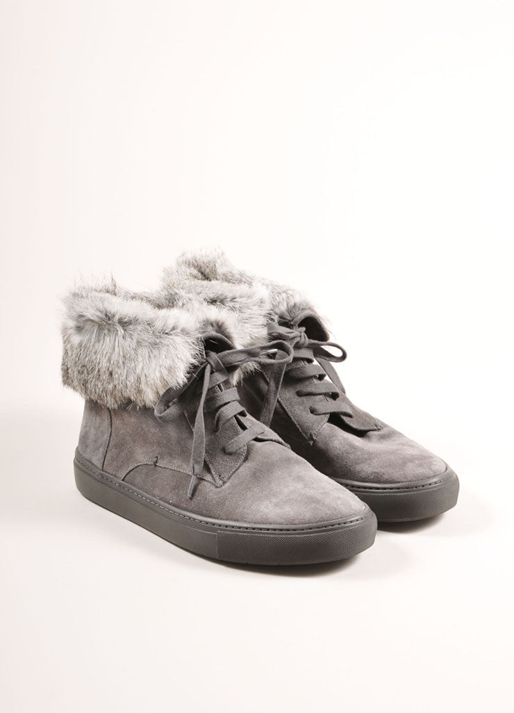 "Vince New In Box Grey Suede Leather Rabbit Fur Trim ""Nyack"" Hi Top Sneakers Frontview"