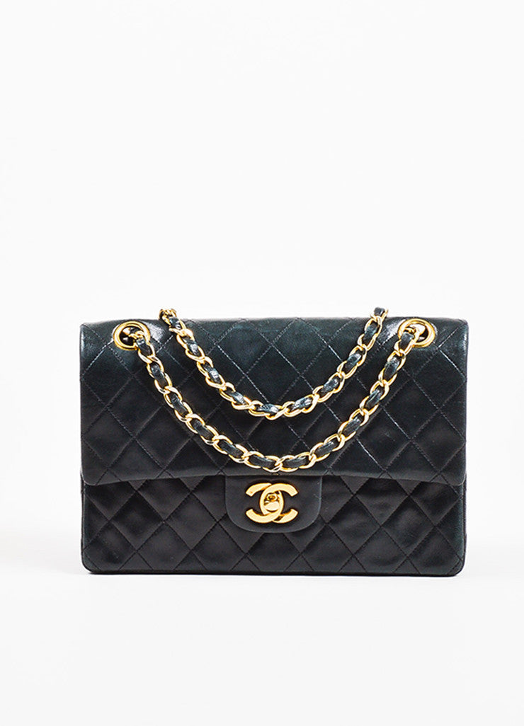 "Chanel Black Gold Toned Lambskin Leather Quilted ""Small Double Flap"" Bag Frontview"