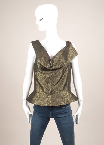 Vivienne Westwood Anglomania New With Tags Gold Metallic Peplum Sleeveless Top Frontview