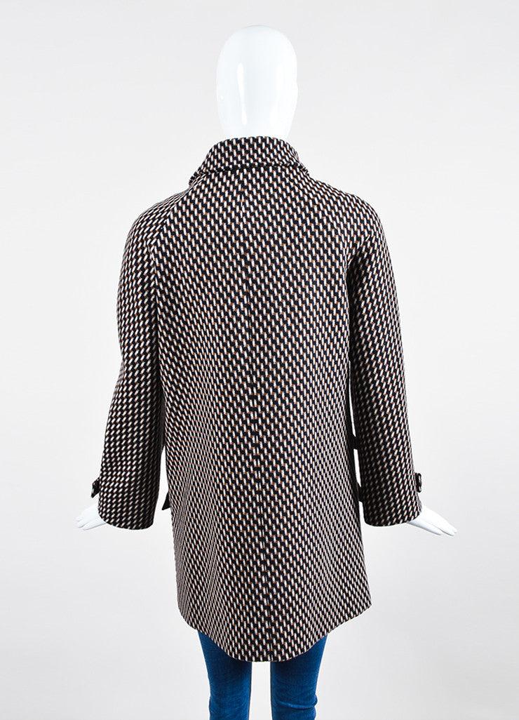 Brown, Black, and Cream Wes Gordon Wool Zig Zag Tweed Jacket Backview