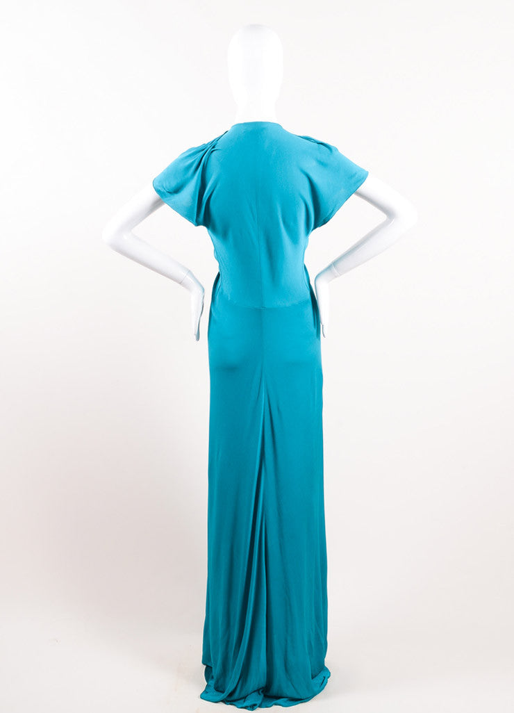 Yves Saint Laurent Teal Viscose Silk Woven Front Floor Length Gown Backview