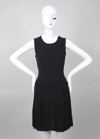 Black Sleeveless Silk Pleated Dress
