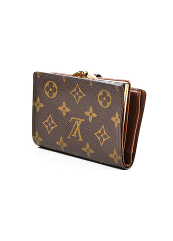 "Brown Louis Vuitton Monogram Canvas ""French Purse"" Wallet Sideview"