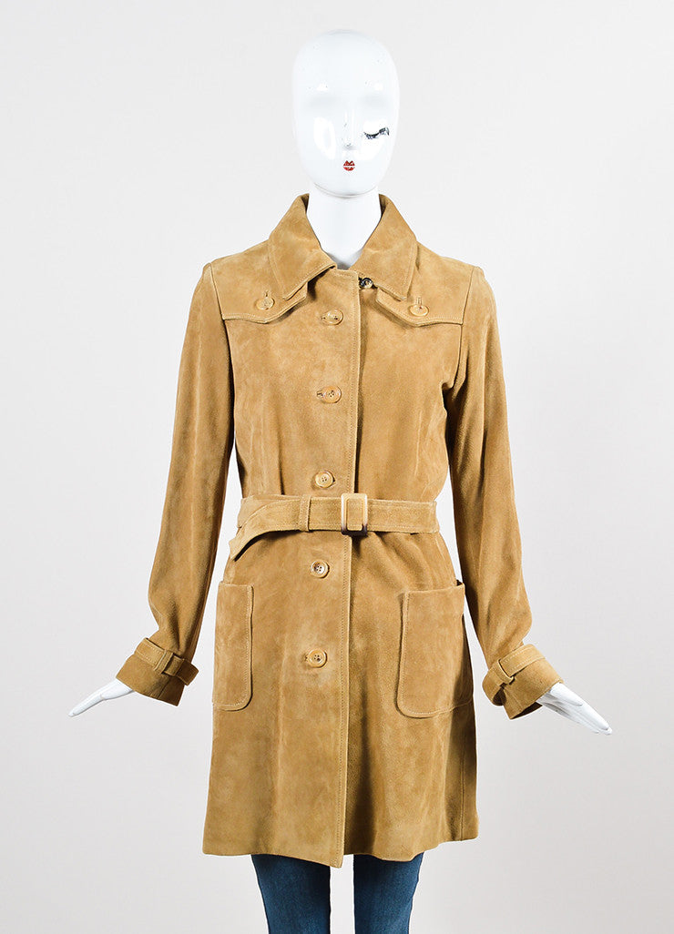 A.P.C. Tan Suede Leather Button Down Belted Long Sleeve Trench Coat Frontview