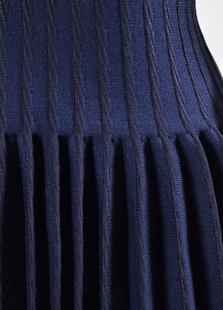 Alaia Navy Wool Pleated Drop Waist V-Neck Long Sleeve Dress Detail