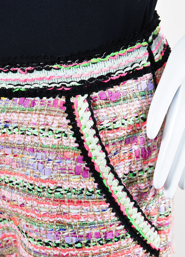 Pink and Multicolor Neon Andrew Gn Tweed Shorts Detail