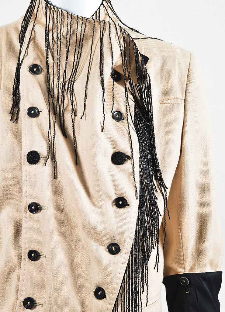 Ann Demeulemeester Beige and Black Cotton Bead Fringe Double Breasted Jacket Detail