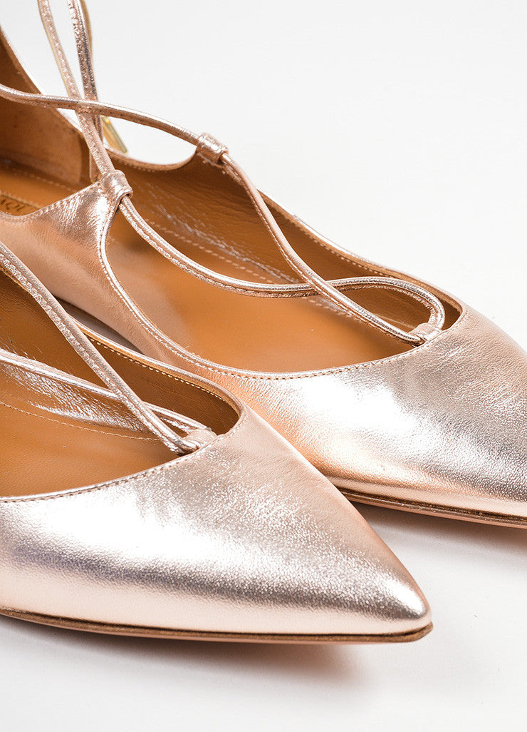 "Rose Gold Leather Aquazzura ""Christy"" Pointed Toe Lace Up Flats Detail"
