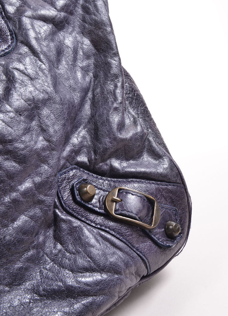 Balenciaga Navy Distressed Leather Studded Oversized Tote Bag Detail 2