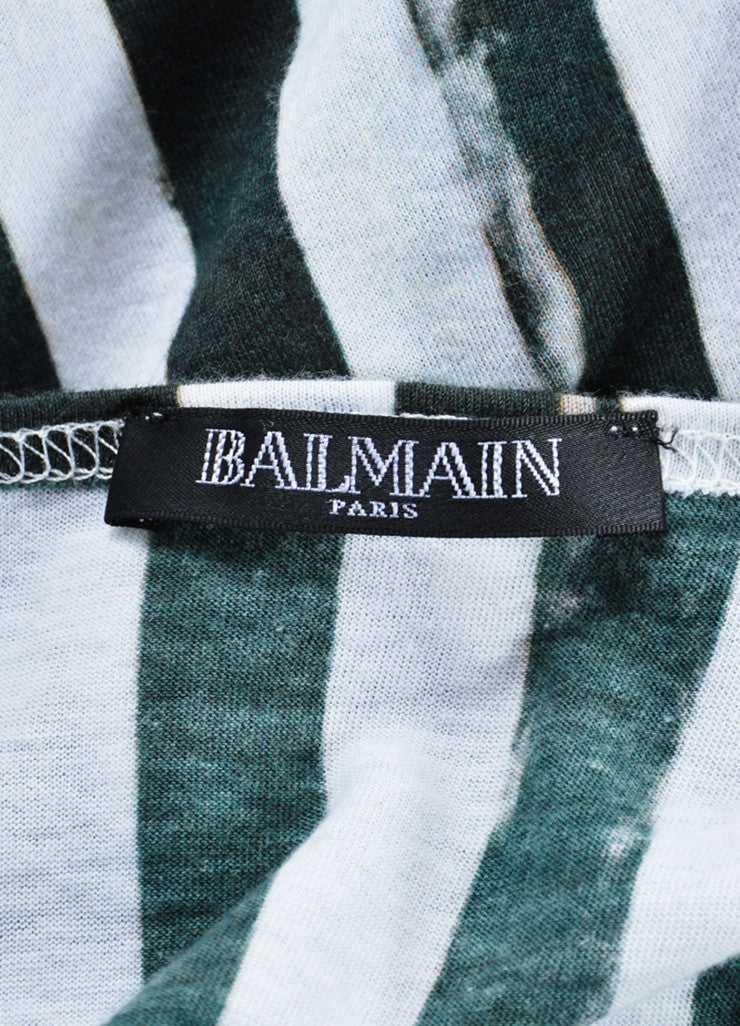 Balmain Green and White Vertical Striped Scoop Neck Tank Top Brand
