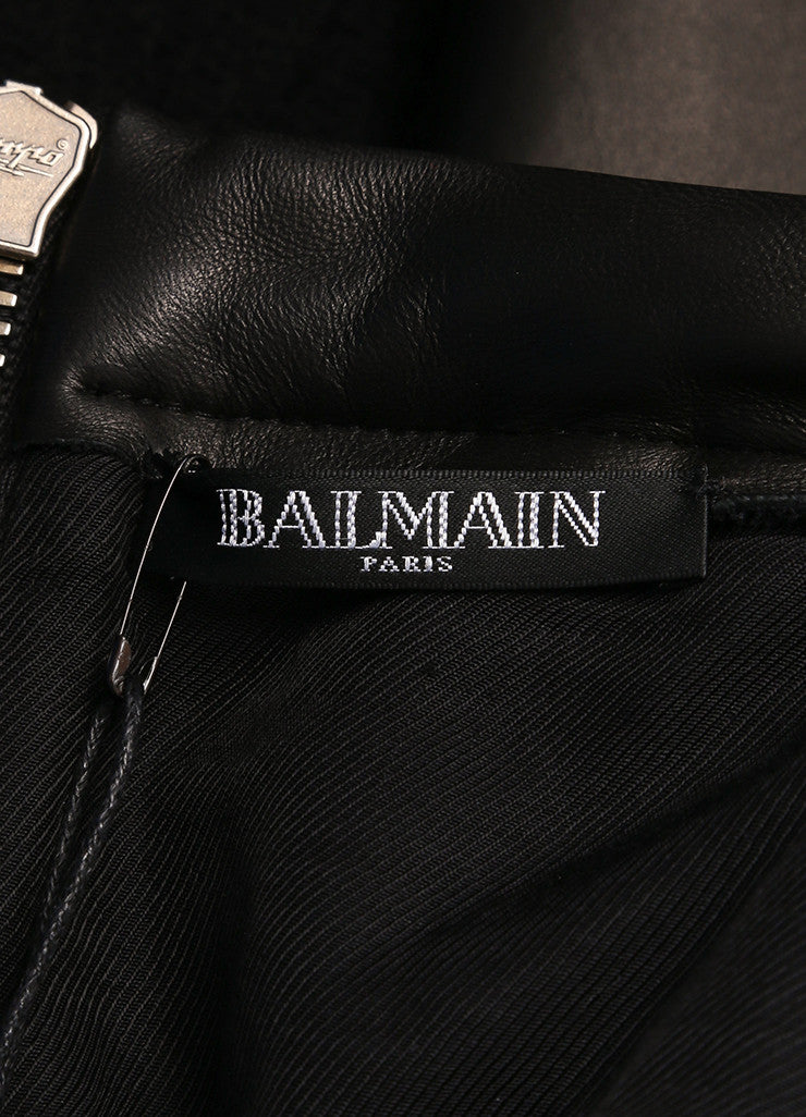 Balmain New With Tags Black Wool Angora and Lamb Leather Pleated Flared Skirt Brand