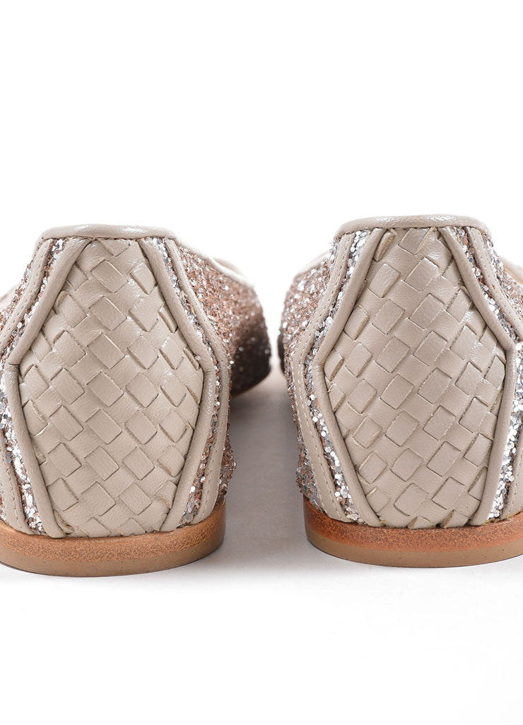 Bottega Veneta Rose Pink Glitter Woven Leather Detail Flats Detail