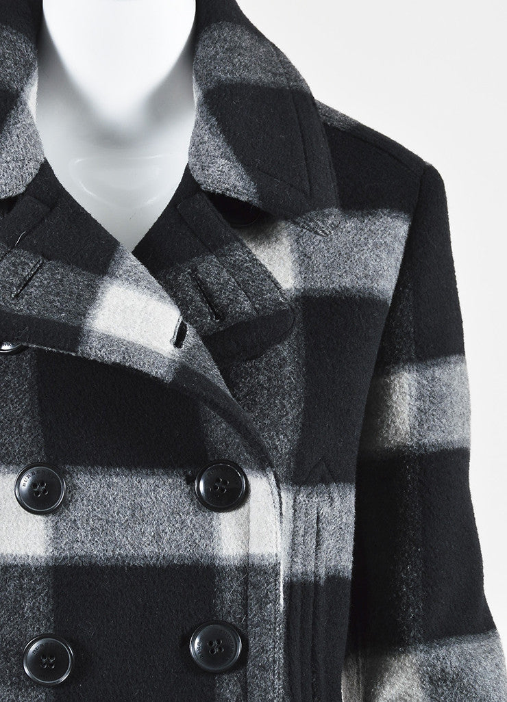 Grey and Black Burberry Brit Wool Plaid Double Breasted Pea Coat Detail