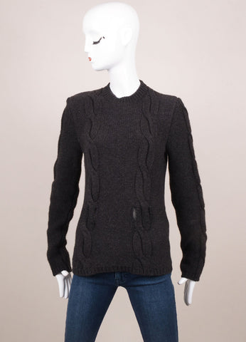 Celine Charcoal Grey Cashmere and Wool Woven Cable Knit Long Sleeve Sweater Frontview