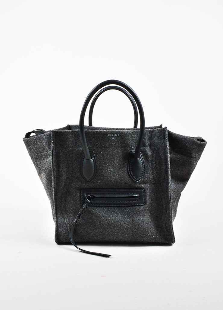 "Celine Grey and Black Felt and Leather Winged ""Medium Phantom Luggage"" Tote Bag Frontview"