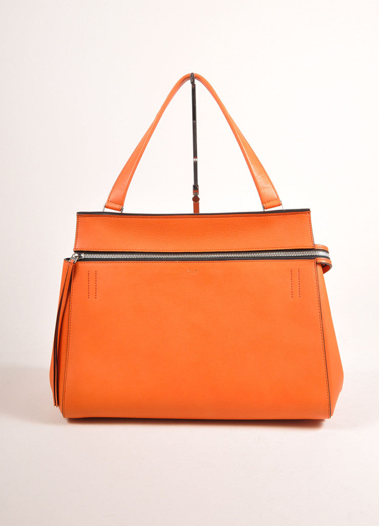 "Celine Orange ""Vermillion"" Leather Structured Large ""Edge"" Tote Bag Frontview"