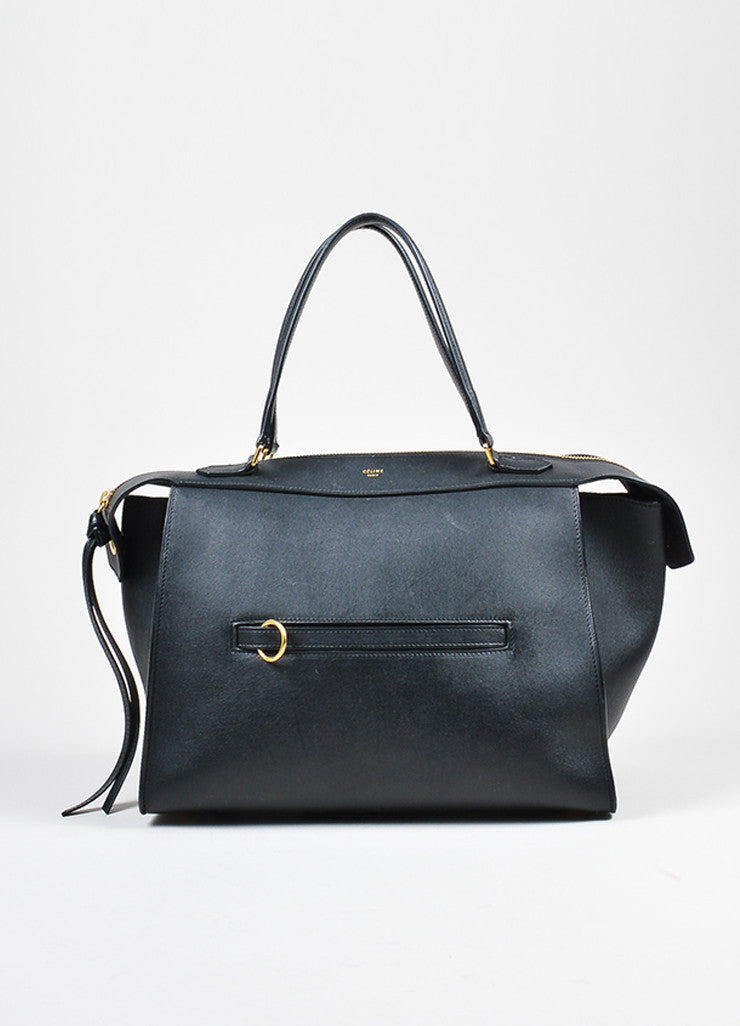 "Black Leather Celine ""Small Ring"" Zip Winged Satchel Bag Frontview"