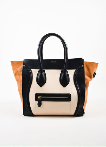 "Celine Black, Tan, and Beige Leather and Suede Winged ""Mini Luggage Tote"" Handbag Frontview"
