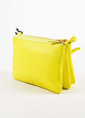 "Celine Yellow Leather ""Small Trio"" Gold Tone Zip Crossbody Bag Back"