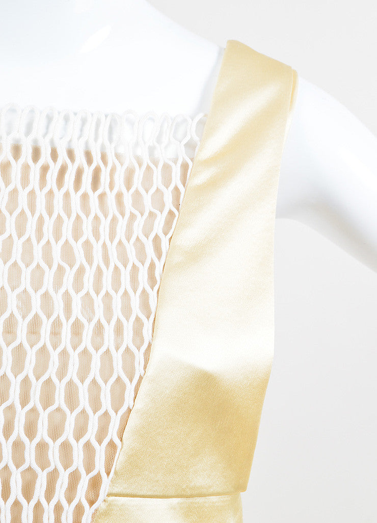 Cream Celine White Sleeveless Eyelet Inset Dress Detail