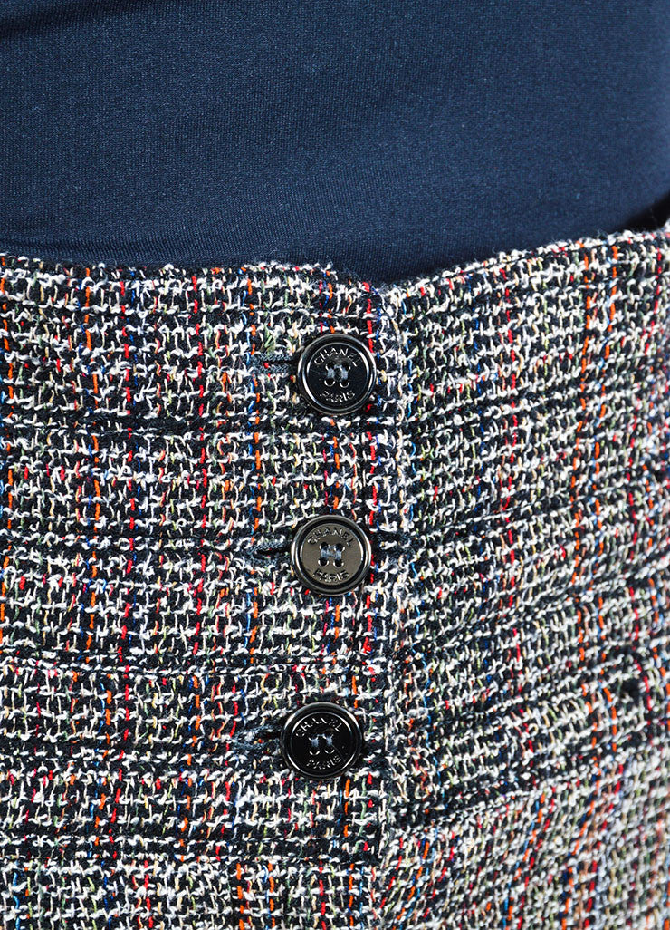 Black, White, and Red Chanel Tweed High Waisted Wide Leg Trousers Detail