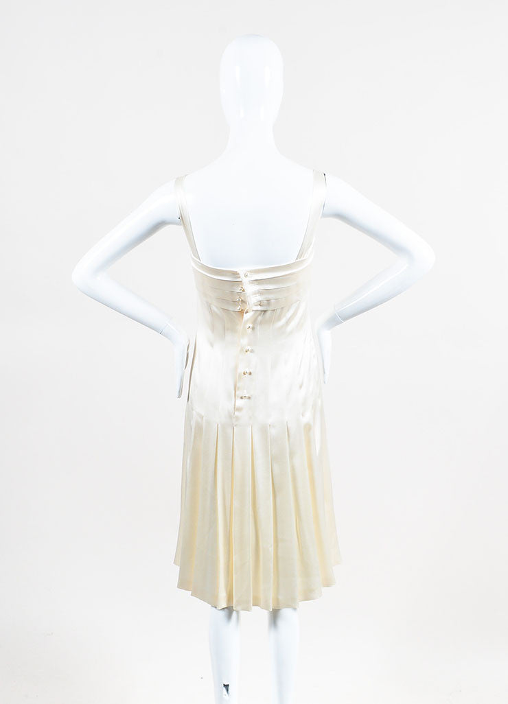 Chanel Cream Silk Spaghetti Strap Pleated Faux Pearl Detail Dress Backview