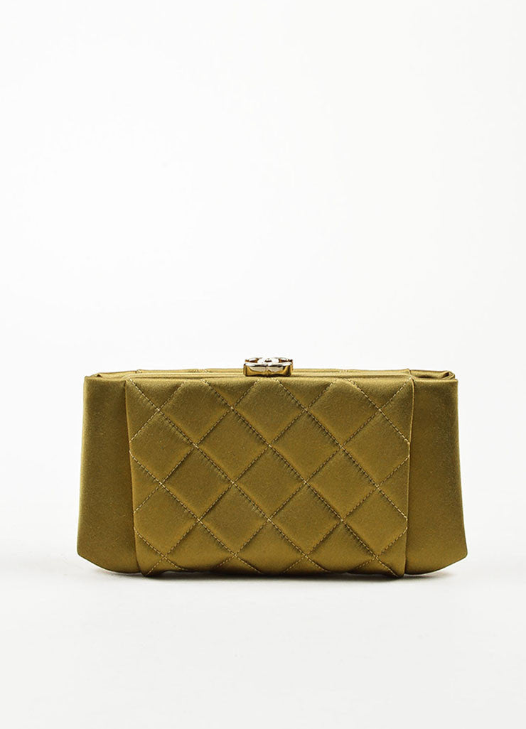Chanel Olive Green Satin Quilted 'CC' Closure Clutch Bag Frontview