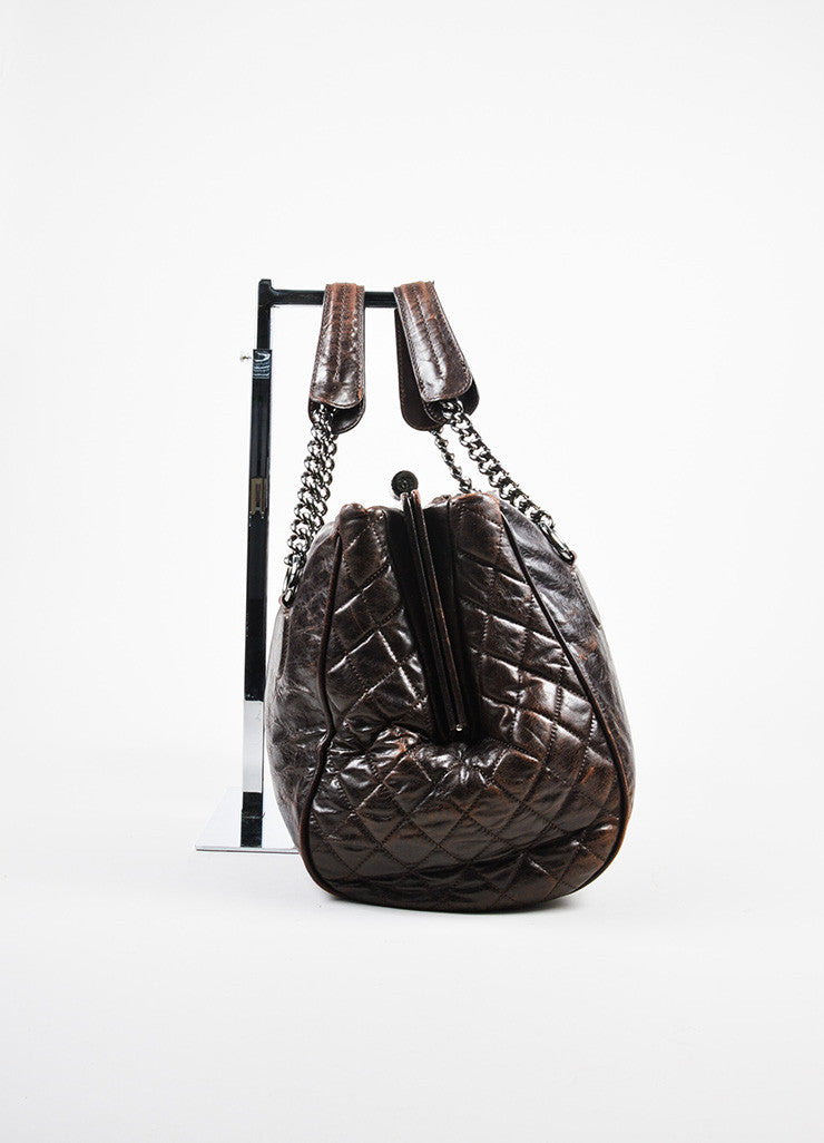 "Dark Brown Chanel Leather Quilted ""Perfect Day"" Tote Bag Sideview"