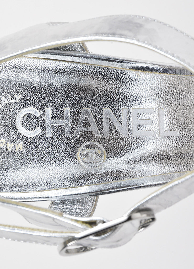Silver Chanel Metallic Leather Brushstroke Platform Chunky Sandals Brand