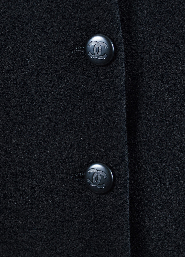 Black Chanel Wool Satin Trim 'CC' Button Jacket Detail