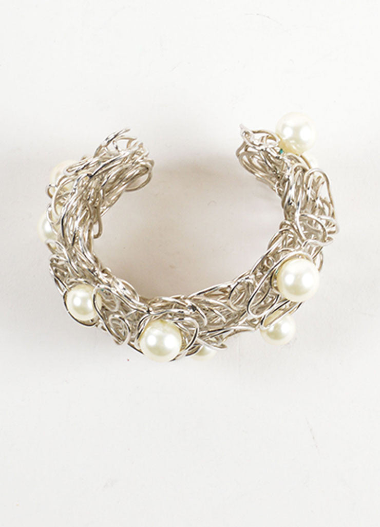 Chanel Silver Toned and Faux Pearl Wire Cuff Bracelet Topview