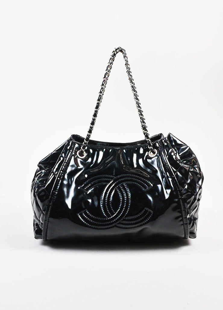"Chanel Black Patent Leather 'CC' Embroidered ""Lipstick Ligne Large Tote"" Handbag Frontview"