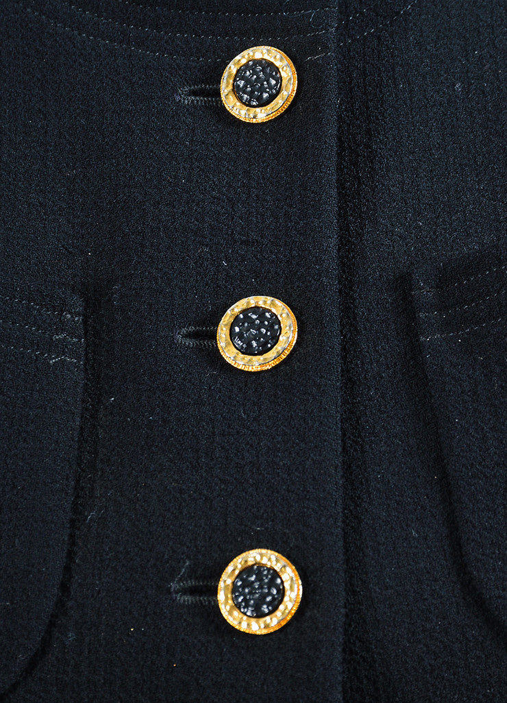 Chanel Black and Gold Toned Button Box Weave Jacket Detail
