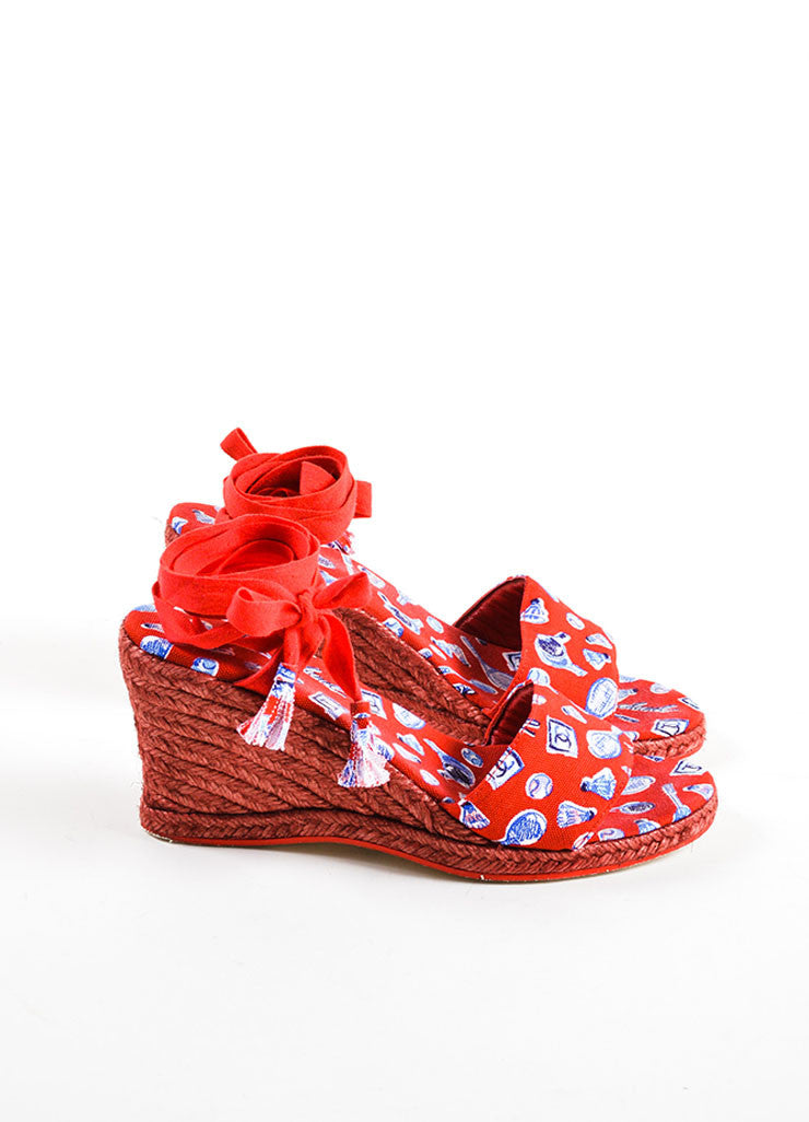 "Chanel  Red Blue Canvas ""CC"" Printed Espadrille Wrap Wedges Sideview"
