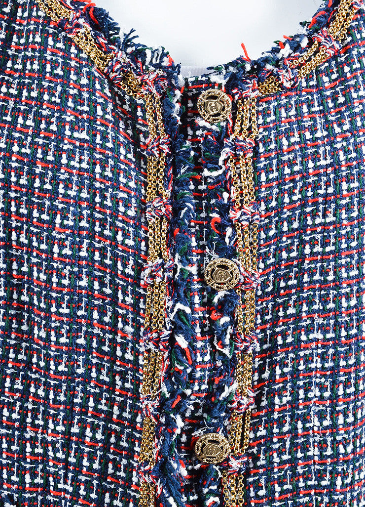 Chanel Red, Blue, and Green Gold Chain Trim 'CC' Button Tweed Fringe Trim Jacket Detail