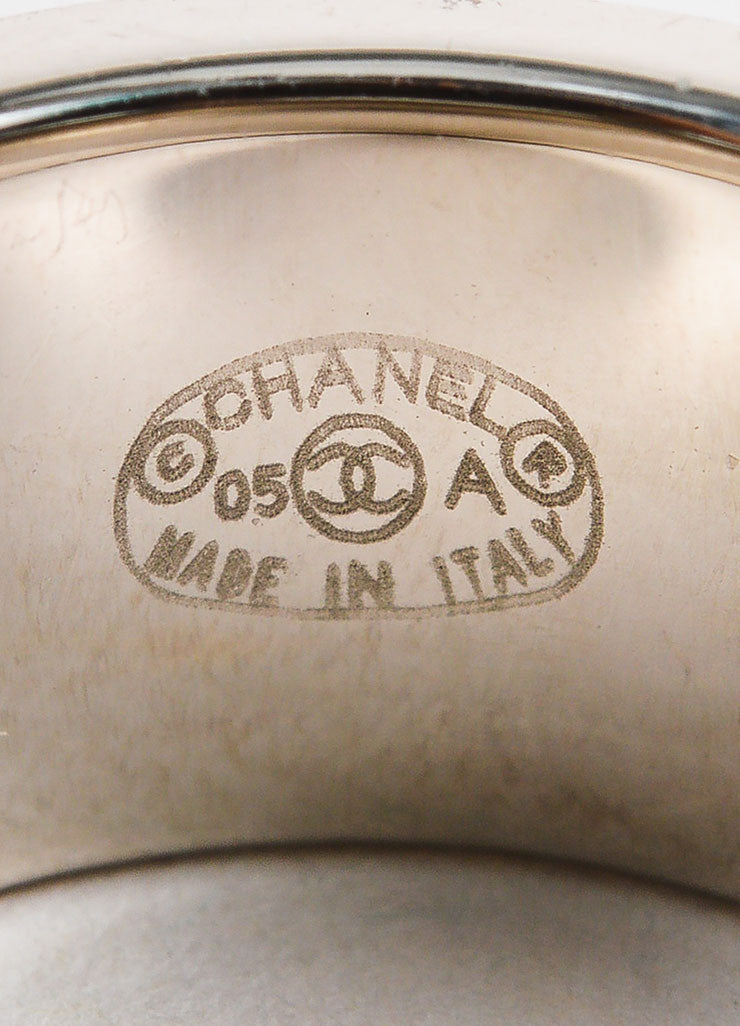 Chanel White and Silver Toned Metal Enamel 'CC' Logo Barrel Ring Brand