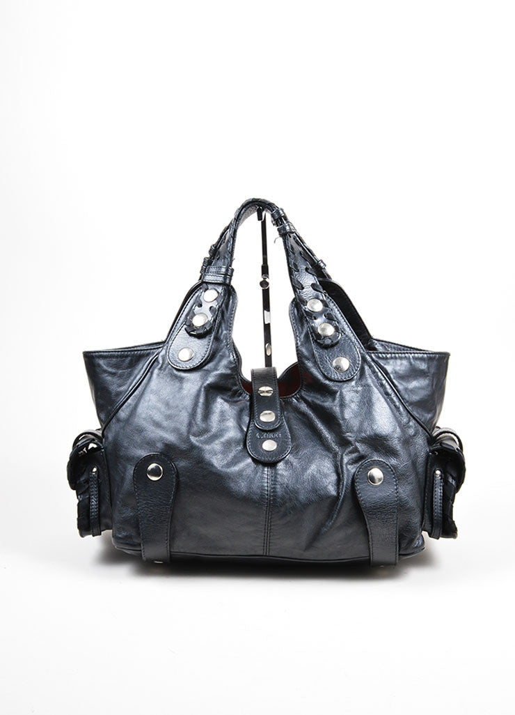 "Black Leather Chloe ""Silverado"" Whipstitch Studded Tote Bag Frontview"