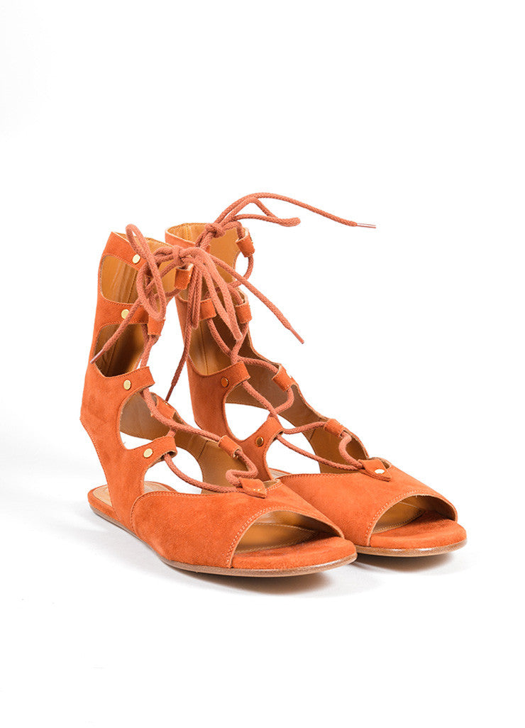 "Chloe Orange ""Sienna"" Suede Lace Up Gladiator Flat Sandals Frontview"