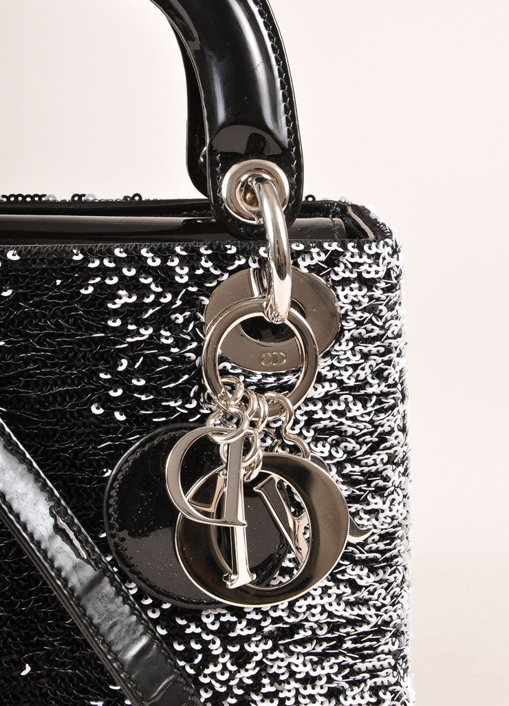 "Christian Dior Black and White Sequin and Patent Leather Small ""Lady Dior"" Bag Detail 2"
