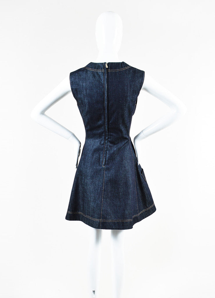 Blue Christian Dior Cotton Denim Fit Flare Jewel Pocket Dress Back