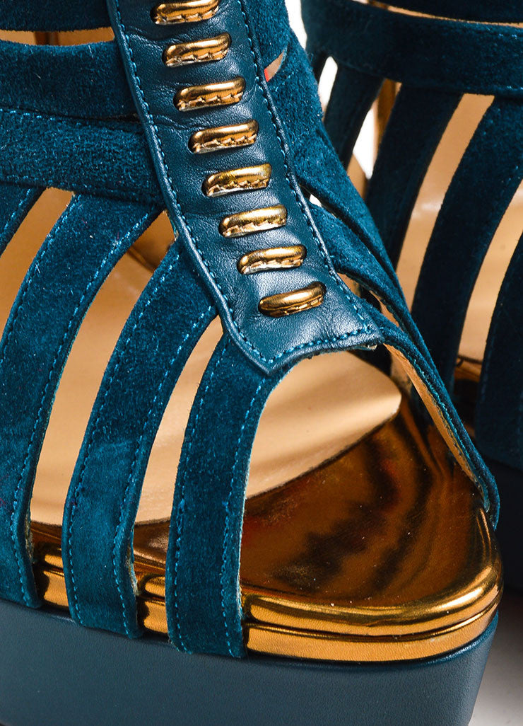 "Blue Watersnake Christian Louboutin ""Karina 150"" Peep Toe Heels Detail"