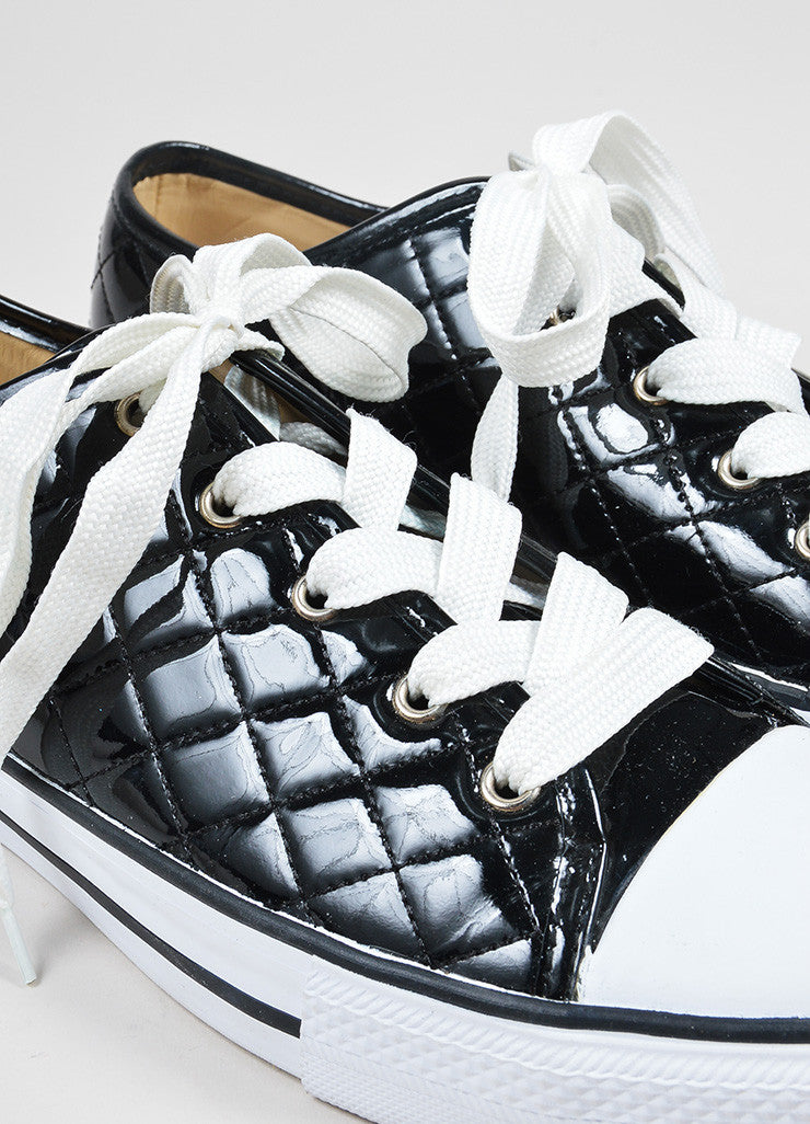 Black and White Dolce & Gabbana Patent Leather Quilted Low Top Sneakers Detail
