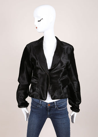 Donna Karan Black Pony Hair Leather Long Sleeve Jacket Frontview