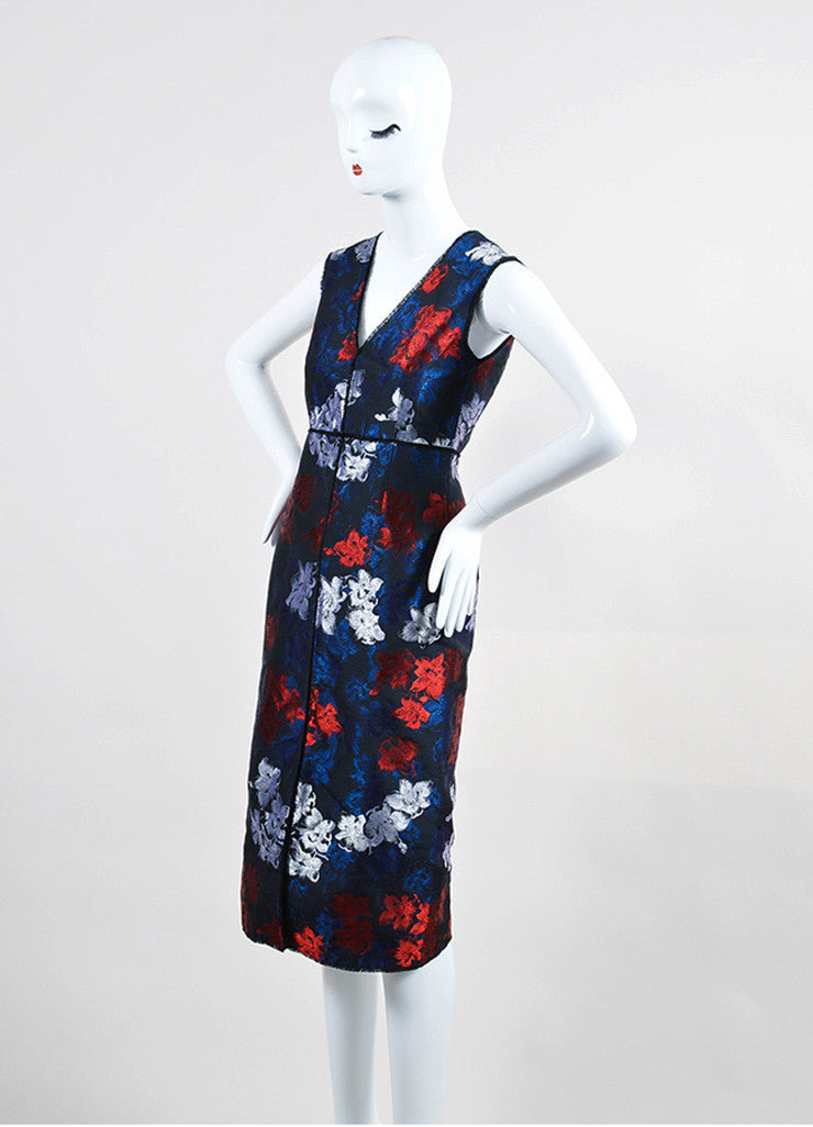 "Navy and Red Erdem Floral Jacquard ""Astrid"" Sleeveless Slit Sheath Dress Sideview"