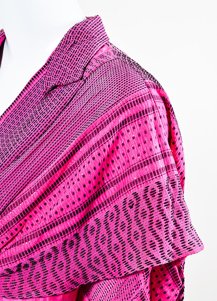 Etro Pink and Black Silk Blend Woven Shimmer Draped Short Sleeve Jacket Cover Up Detail