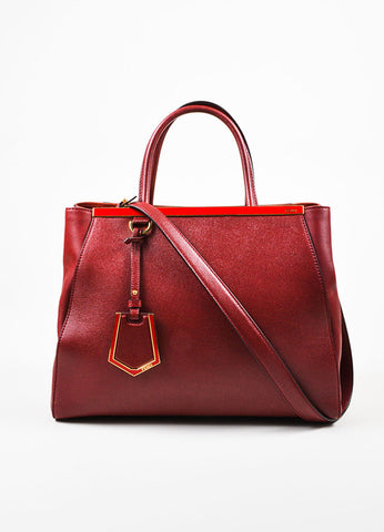 "Fendi Red Textured Leather Medium ""2Jours"" Removable Strap Frame Bag Frontview"