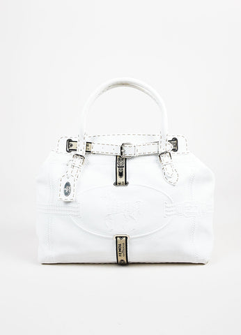 "Fendi Selleria White Pebbled Leather Embossed ""Grand Borghese"" Canvas Trim Bag Frontview"