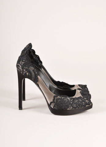 Giorgio Armani Black and Grey Satin and Lace Peep Toe Pumps Sideview